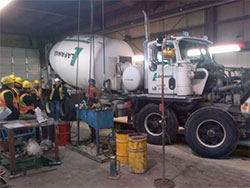 concrete truck inside building
