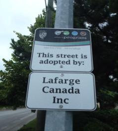 Lafarge Adopt A Street Sign